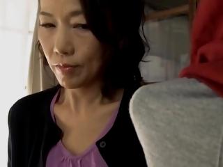 Japanese mom making son practice sex