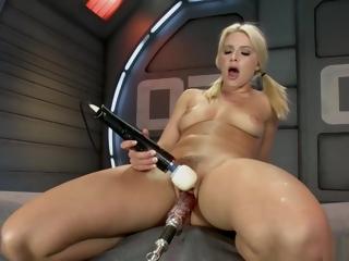 Blonde fucks sex toys and machines
