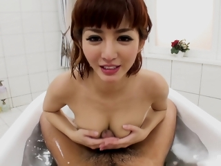 Sexy Japanese fucks her pauper in the shower