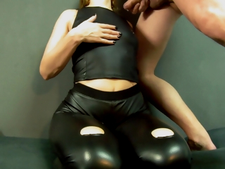 Blonde At hand Ripped Latex Leggings Gets Fucked And Takes A Bulky Cumshot On Her Latex Top