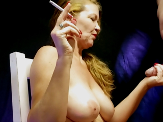 Truly Smoking Roger Stroking Cumshot On Tits