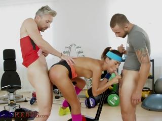 Blistering Euro Babe Megane Lopez Takes Two Cocks All round Dp Workout