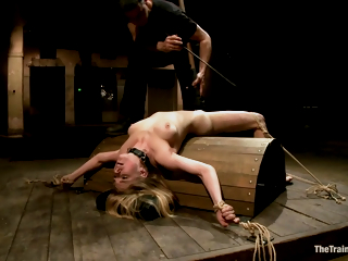 Waiting upon Gets Her Cunt Caned And Then Sucks A Huge Dick In Torture Room