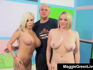 Vyxen Steel And Maggie Green - Unselfish Titty Bisexual Sucks On A Hard Blarney With Hot