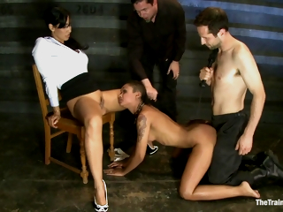 Isis Adore And Skin Diamond - Hung From The Ceiling Ebony Slave Girl Fucked Hard by Hot Domina