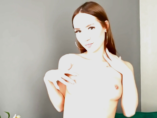 Rubs The brush Bald Slit - Solo Teen Video With Kate Quinn
