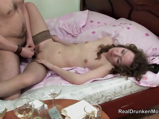 Russian Boozer Mature Kira Fucks In Stockings With Younger Guy